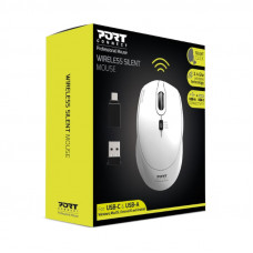 Port Wireless Silent 3600DPI 3 Button USB and Type-C Dongle Mouse – White